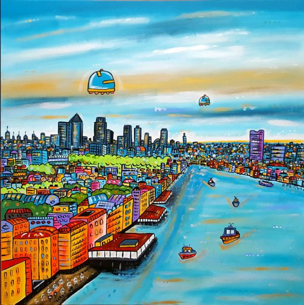 Soul of London, 80 x 80 cm, original acrylic painting